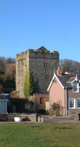Strangford Castle - The Castle overlooks the harbour and the ferry landing. The small tower shared with Portaferry Castle, which can be seen across the narrows, the duty of monitoring ferry activity between the shores and watching the sea traffic in and out of Strangford Lough. `In the time of Queen Elizabeth' reported Harris in 1744 `there was a castle maintained for securing the Quiet of this Country'. The castle appears to date from the 16th century, though there is evidence that an earlier structure was incorporated. 